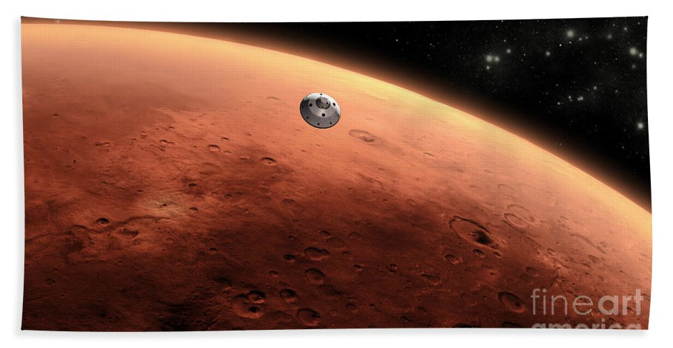 Mars Science Laboratory Beach Towel featuring the digital art Artists Concept Of Nasas Mars Science by Stocktrek Images