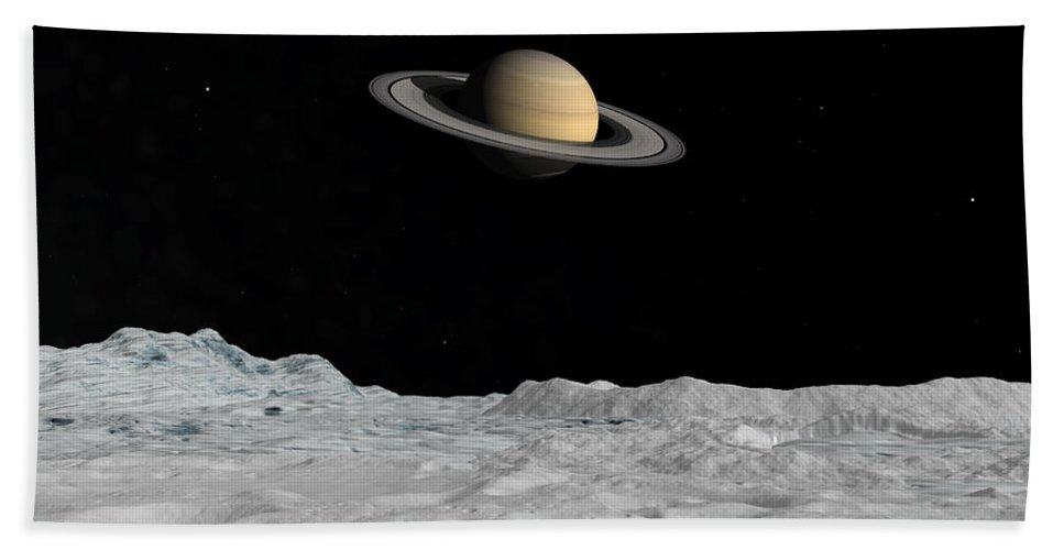 Astronomy Beach Towel featuring the digital art Artists Concept Of Saturn As Seen by Walter Myers