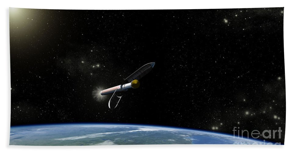 Atlas Rocket Beach Towel featuring the digital art Artists Concept Of The Atlas V541 by Stocktrek Images