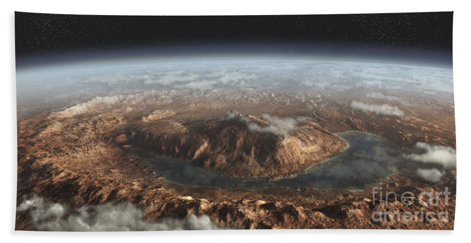 Digitally Generated Image Beach Towel featuring the digital art Artists Concept Showing A Lake by Steven Hobbs