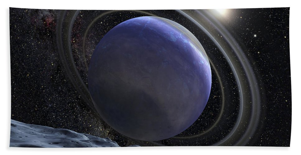 Planetary Beach Towel featuring the digital art Artists Illustration Of An Extrasolar by Stocktrek Images