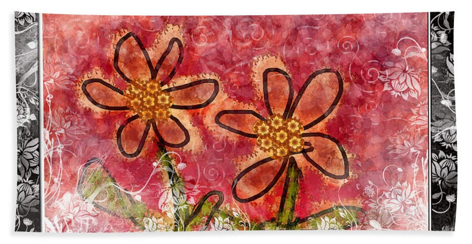 Digital Art Beach Towel featuring the photograph Artsy Daisies by Debbie Portwood