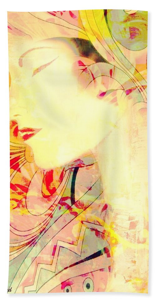 Lady Beach Towel featuring the painting Asian Tropic by Barbie Guitard