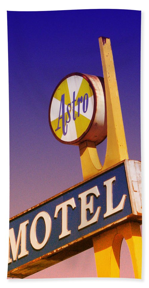 Vintage Signs Beach Towel featuring the photograph Astro Motel Retro Sign by Kathleen Grace