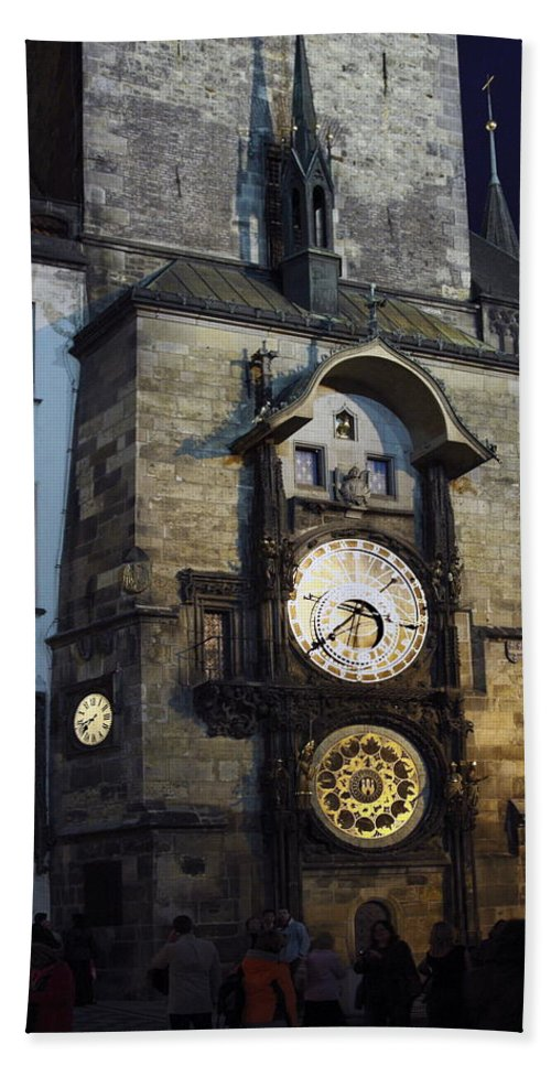 Old Town Hall Clock Tower Beach Towel featuring the photograph Astronomical Clock At Night by Sally Weigand