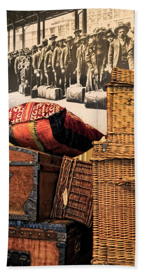 Ellis Island State Park Beach Towel featuring the photograph At Ellis Island by Dave Mills