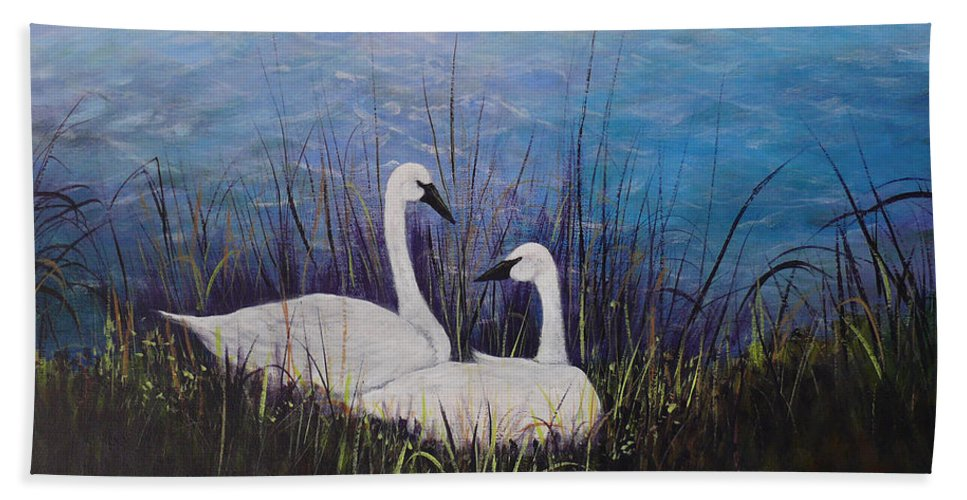 Swan Beach Towel featuring the painting At Rest by Dee Carpenter