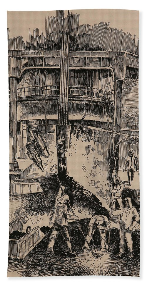 Metallurgical Furnace Beach Towel featuring the drawing At The Blast Furnace by Ylli Haruni