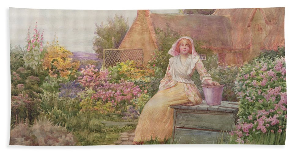 At The Well Beach Towel featuring the painting At The Well by William Ashburner
