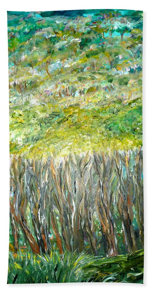Whimsical Forest Scene Beach Towel featuring the painting At The Whims Of Limbs by Sara Credito