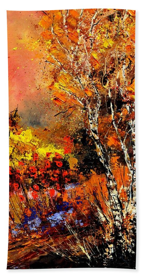 Landscape Beach Towel featuring the painting Autumn 672180 by Pol Ledent