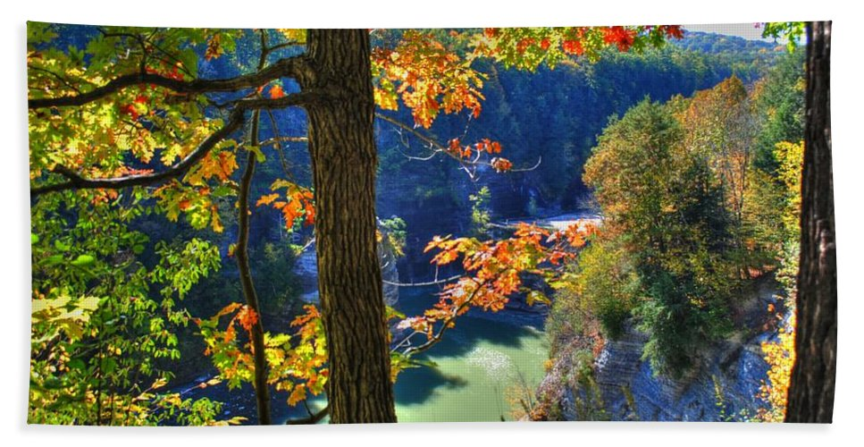 Beach Towel featuring the photograph Autumn At Letchworth State Park by Michael Frank Jr