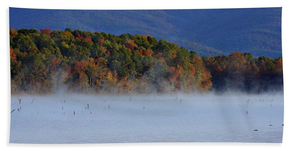 Autumn Beach Towel featuring the photograph Autumn Backdrop by Douglas Barnard