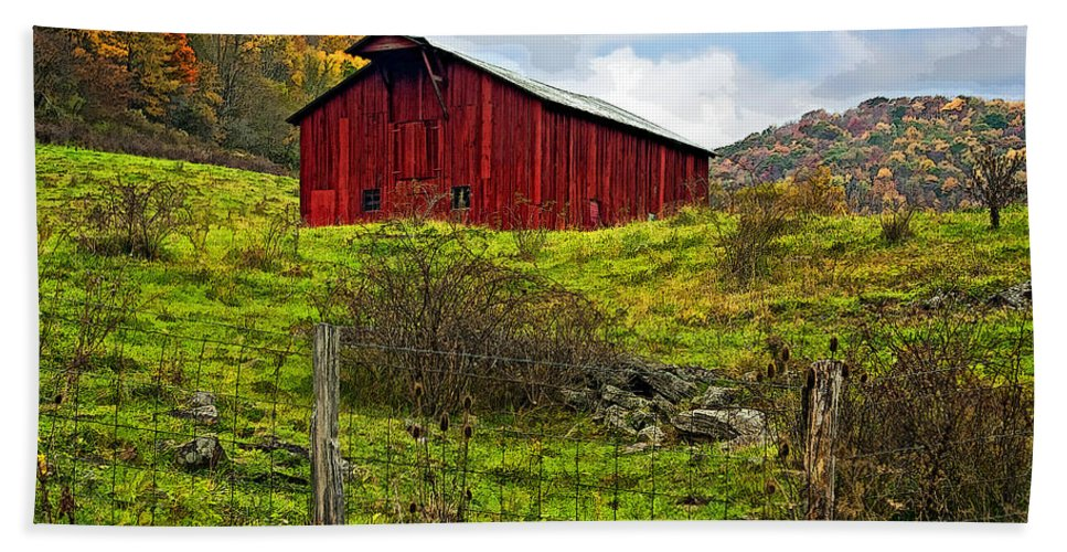 West Virginia Beach Towel featuring the photograph Autumn Barn Painted by Steve Harrington