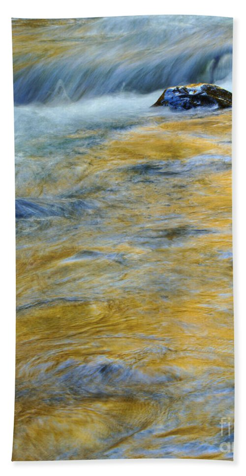 Water Beach Towel featuring the photograph Autumn Colors Reflected In Stream by Jill Battaglia