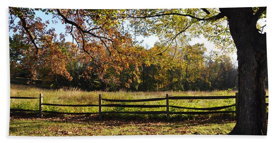 Autumn Beach Towel featuring the photograph Autumn Field In Pennsylvania by Bill Cannon