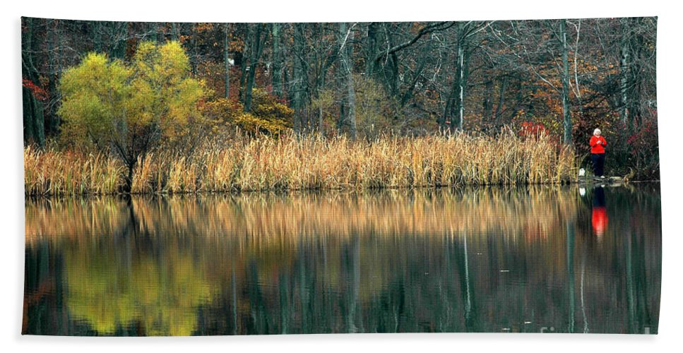 Autumn Beach Towel featuring the photograph Autumn Fisherman Reflections by Mike Nellums