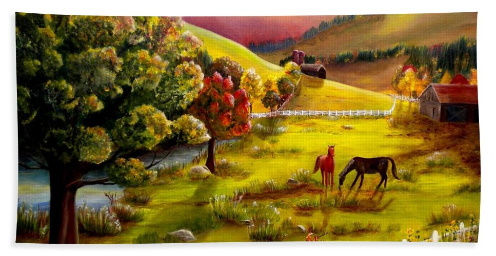 Autumn Beach Towel featuring the photograph Autumn In The Valley by Renate Nadi Wesley