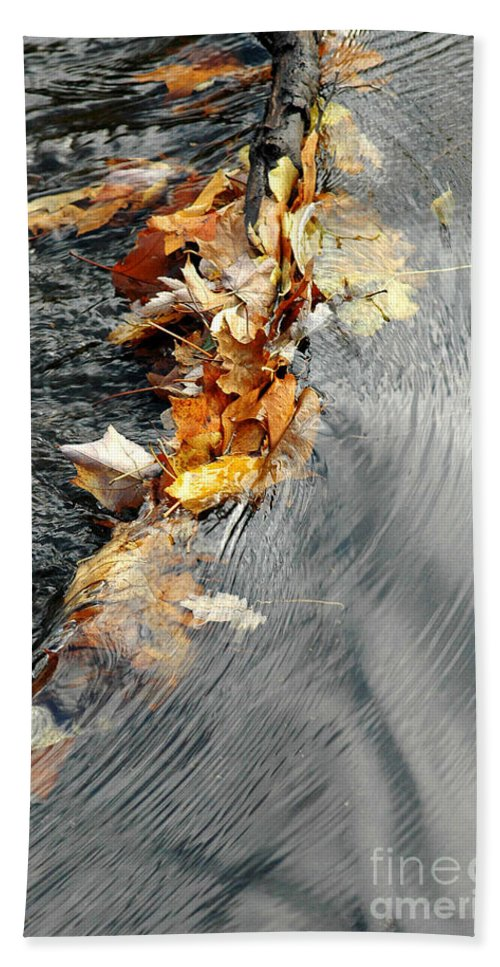 Autumn Beach Towel featuring the photograph Autumn Leaves Tiny Dam by Mike Nellums