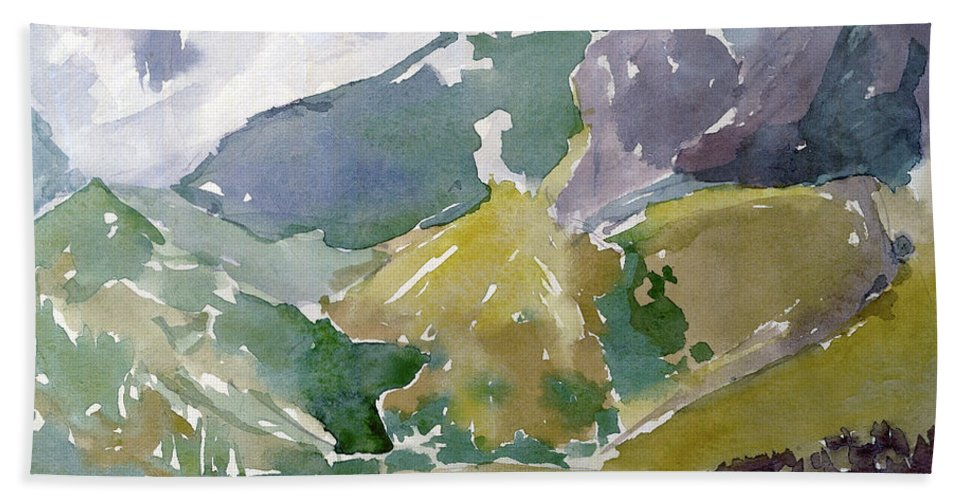 Mountains Beach Towel featuring the painting Autumn Mountains by Dariusz Gudowicz