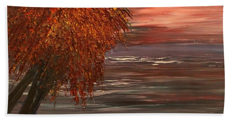 Tree Beach Towel featuring the painting Autumn Sky by Debbie Levene