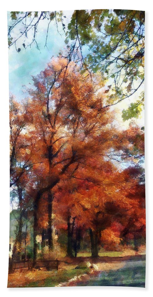 Street Beach Towel featuring the photograph Autumn Street Perspective by Susan Savad