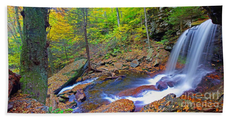 Pennsylvania Beach Towel featuring the photograph B Reynolds Falls Panorama by Rich Walter