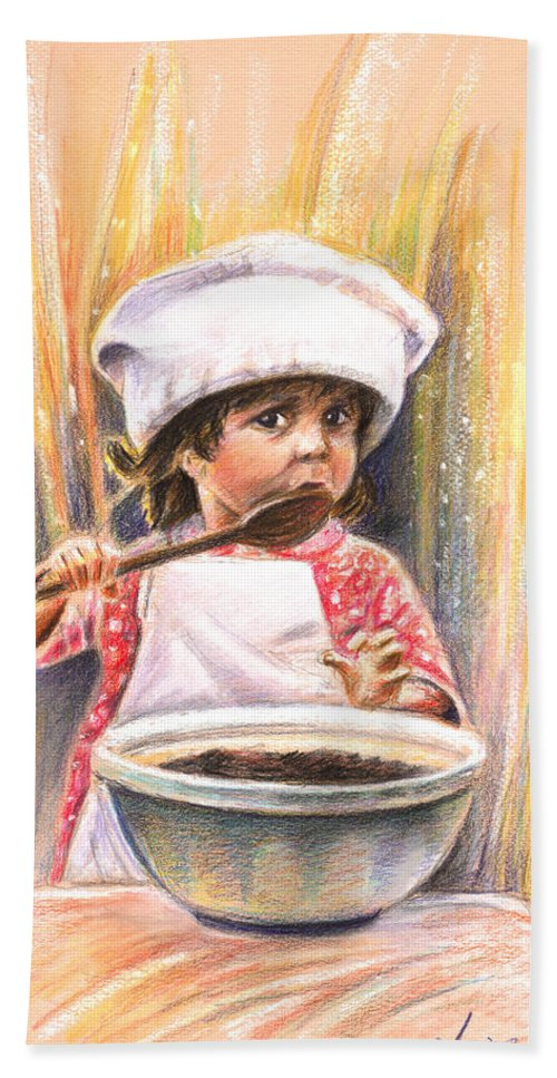 Baby Beach Towel featuring the painting Baby Cook With Chocolade Cream by Miki De Goodaboom