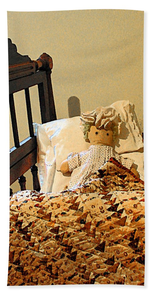 Doll Beach Towel featuring the photograph Baby Doll In Crib by Susan Savad