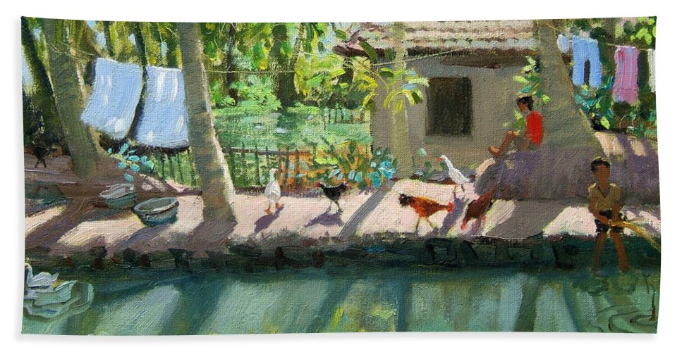 River Beach Towel featuring the painting Backwaters India by Andrew Macara