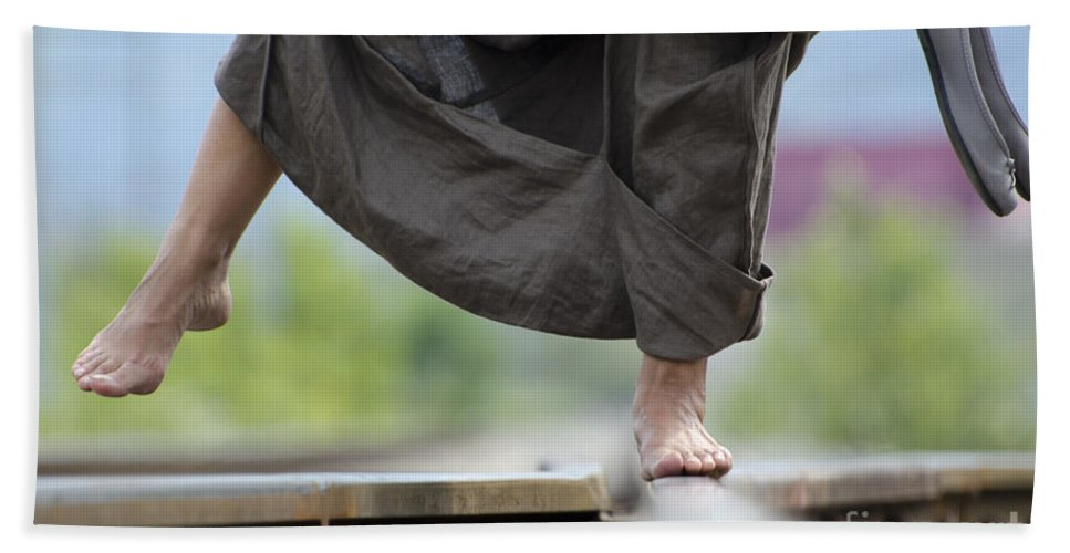 Shoes Beach Towel featuring the photograph Balance On Railroad Tracks by Mats Silvan