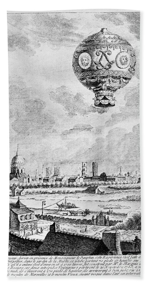 1783 Beach Towel featuring the photograph Balloon Flight, 1783 by Granger