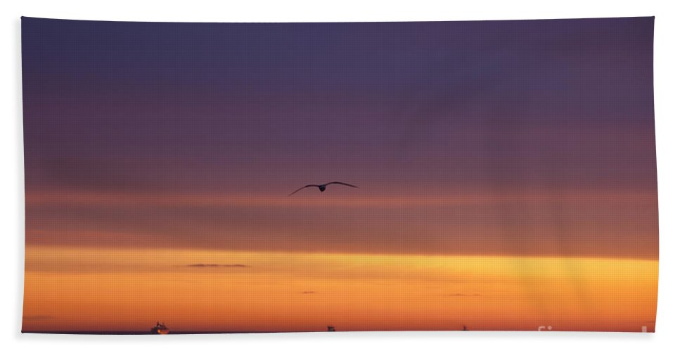 Sunset Beach Towel featuring the photograph Baltic Cruise Ships In Convoy. by Clare Bambers