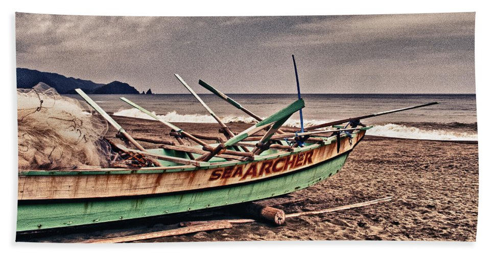 Afternoon Beach Towel featuring the photograph Banca Boat 2 by Skip Nall