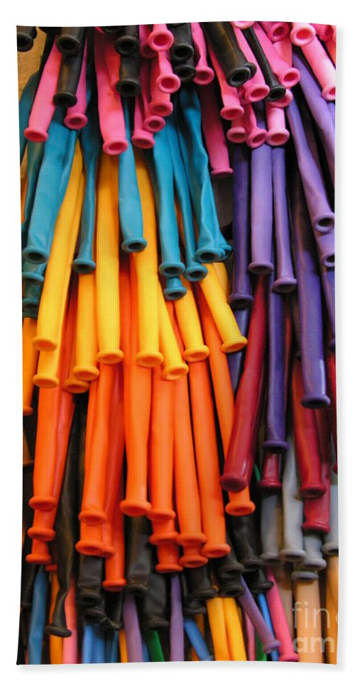 Rubber Bands Hanging Beach Towel featuring the photograph Bands Of Color by Diane Greco-Lesser