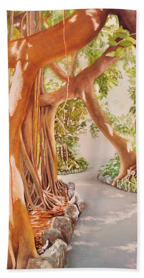 Pinecrest Gardens Framed Prints Beach Towel featuring the painting Banyan In The Afternoon by Terry Arroyo Mulrooney