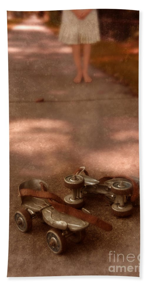 Barefoot Beach Towel featuring the photograph Barefoot Girl On Sidewalk With Roller Skates by Jill Battaglia
