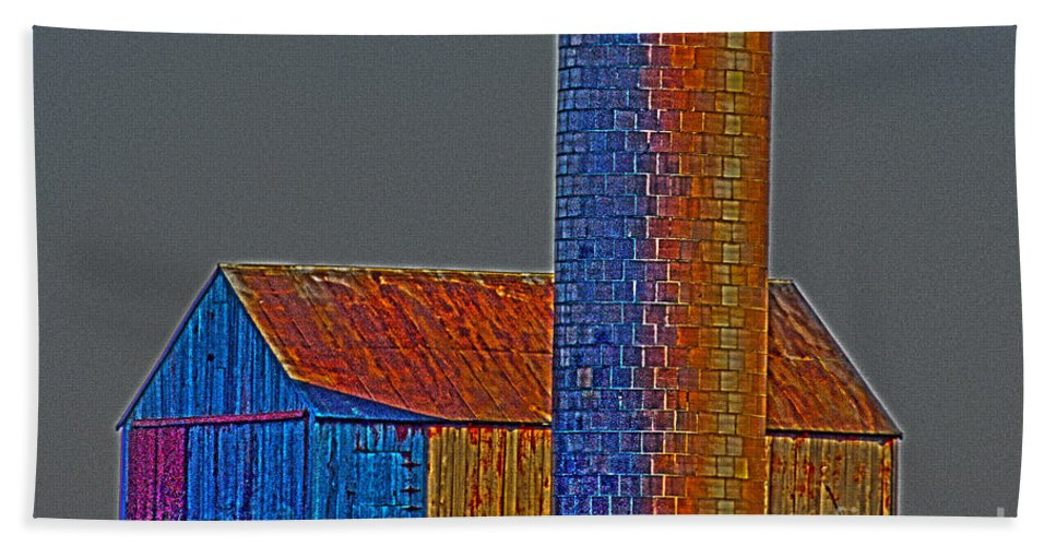 Grain Beach Towel featuring the photograph Barn And Silo by Alan Look