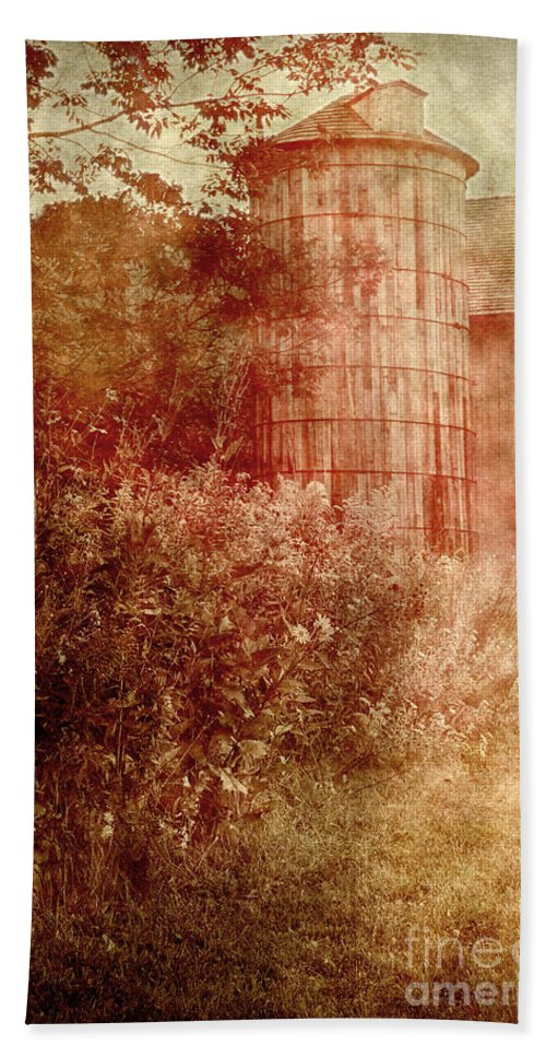 Old Beach Towel featuring the photograph Barn And Silo by Margie Hurwich