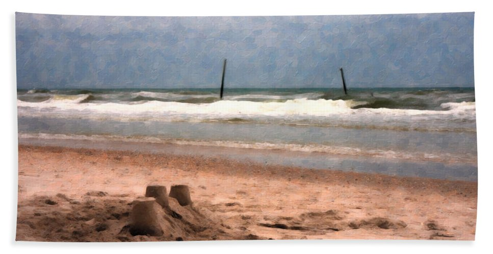 Paradise Beach Towel featuring the digital art Barnacle Bill's And The Sandcastle by Betsy Knapp