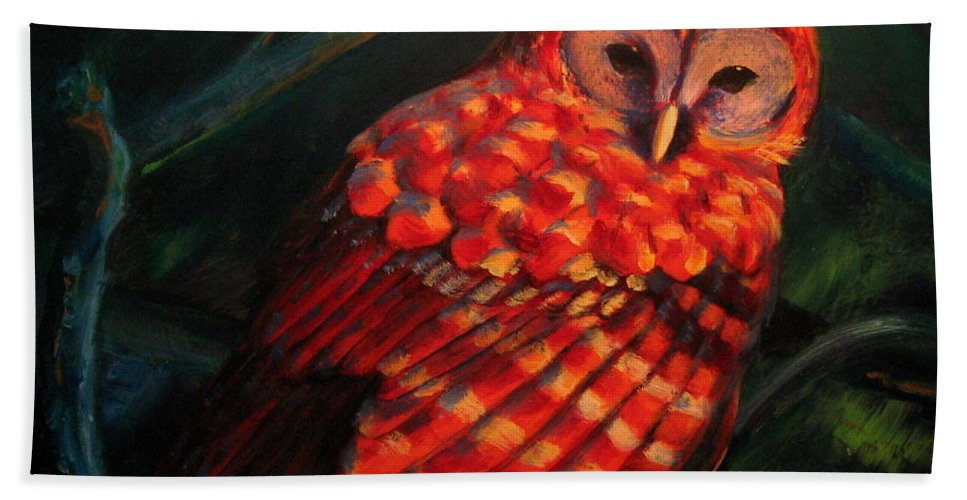 Owl Beach Towel featuring the painting Barred Owl by Jason Reinhardt