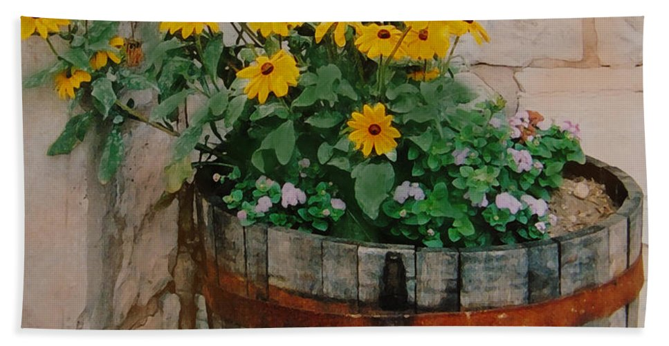 Flowers Beach Towel featuring the photograph Barrel Of Flowers by Ian MacDonald