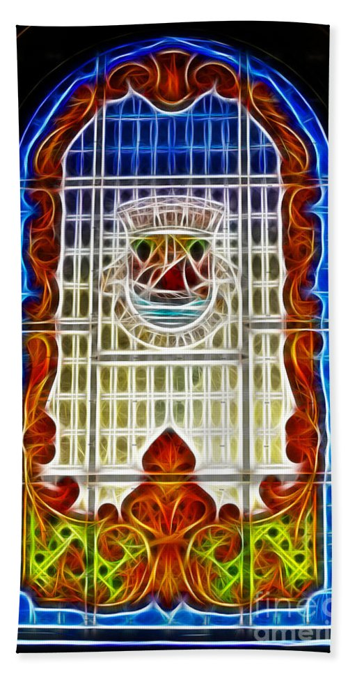 Stained Glass Beach Towel featuring the photograph Barriero Window by Darleen Stry