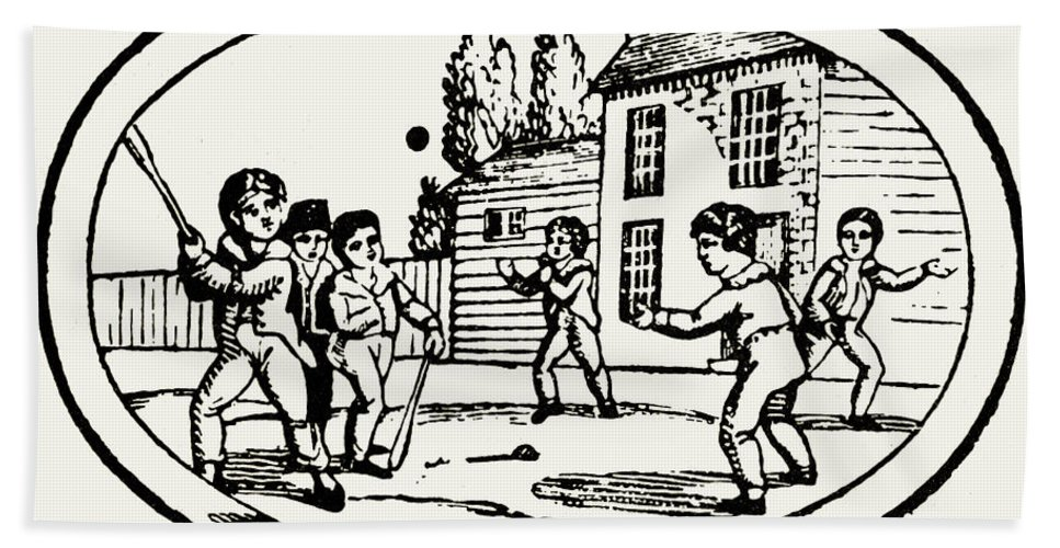 1820 Beach Towel featuring the photograph Baseball Game, 1820 by Granger