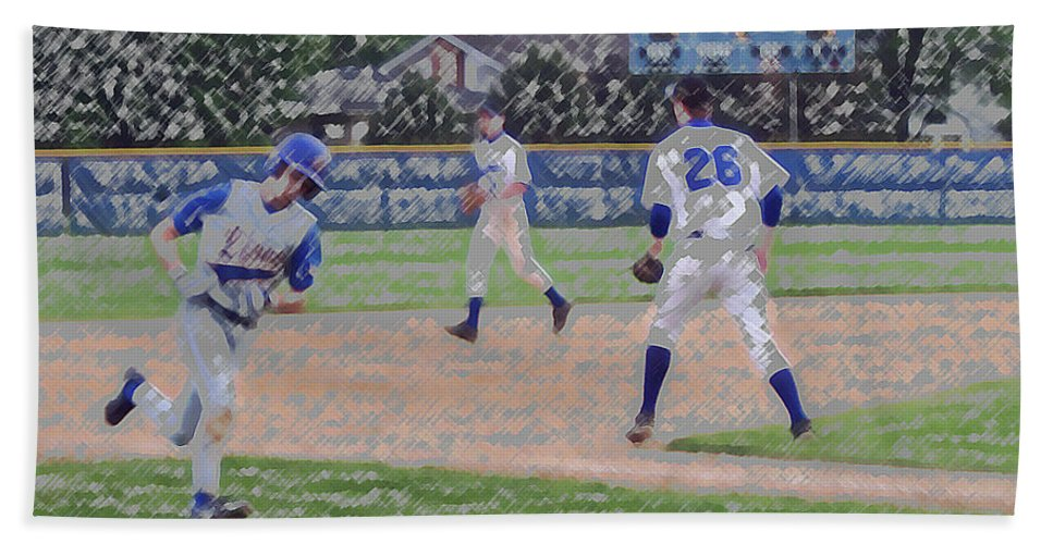 Sports Beach Towel featuring the digital art Baseball Runner Heading Home Digital Art by Thomas Woolworth