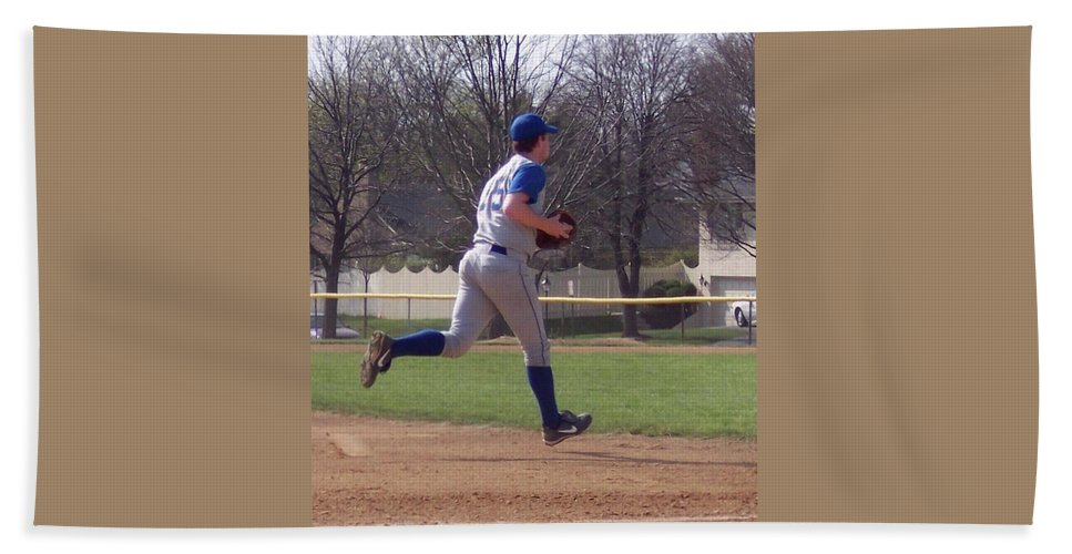Sports Beach Towel featuring the photograph Baseball Step And Throw From Third Base by Thomas Woolworth