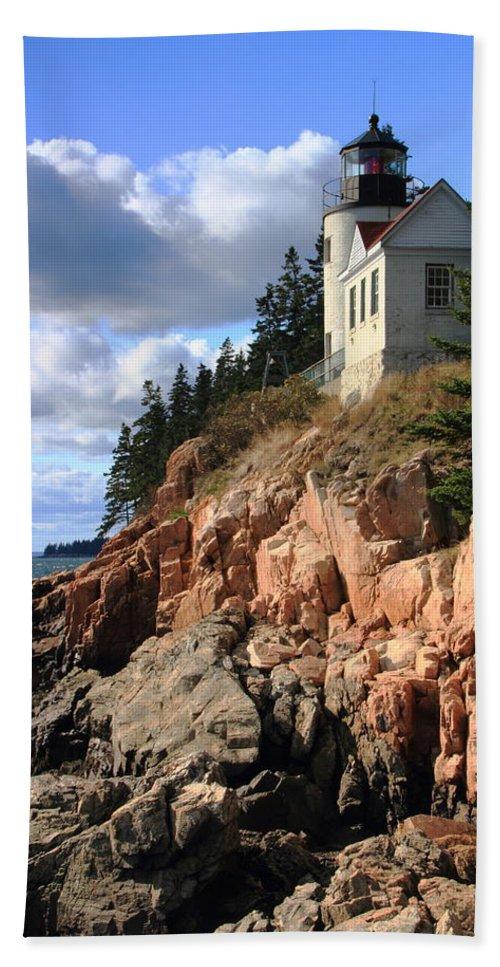 Bass Harbor Head Lighthouse Beach Towel featuring the photograph Bass Harbor Head Lighthouse by Roupen Baker