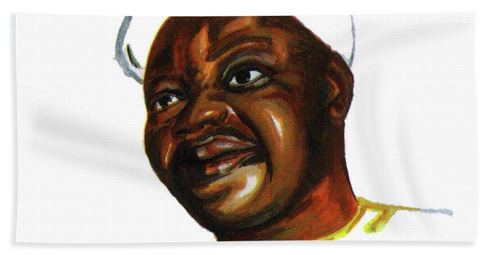Portraits Beach Towel featuring the painting Bassek Ba Kobhio by Emmanuel Baliyanga
