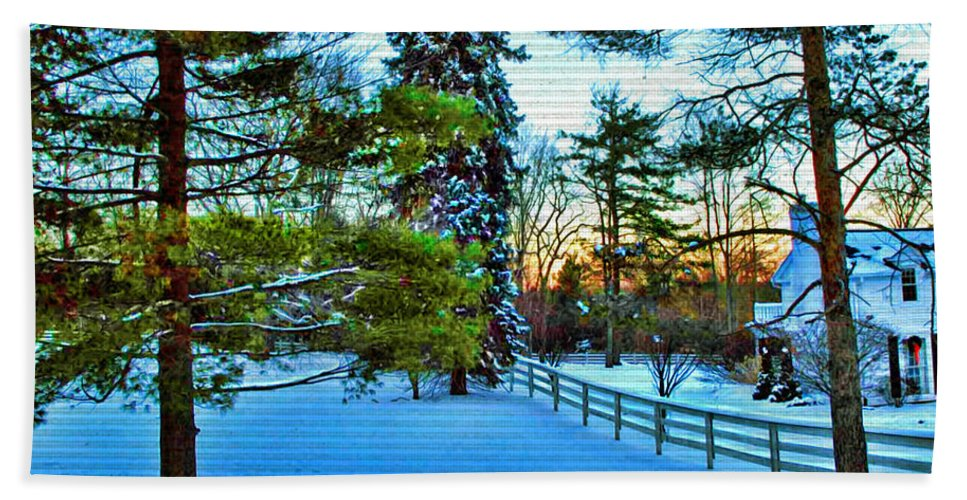 Bath Beach Towel featuring the photograph Bath Ohio In Winter by Joan Minchak