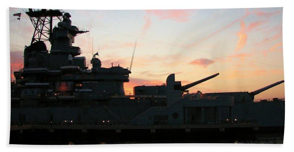 Ship Beach Towel featuring the photograph Battleship by Art Dingo